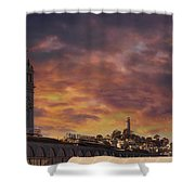 Sunset Over Port Of San Francisco Ferry Building Shower Curtain