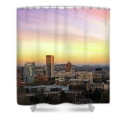 Sunset Over Portland Cityscape And Mt Hood Shower Curtain