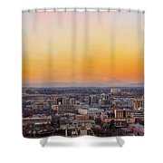 Sunset Over Portland Cityscape And Mt Saint Helens Shower Curtain