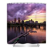 Sunset Over Portland Oregon Downtown Waterfront Shower Curtain