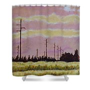 Sunset Over Powerlines Shower Curtain
