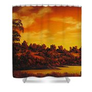Sunset Over River Shower Curtain