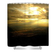 Sunset Over Sandia Mountain Shower Curtain