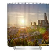Sunset Over Seattle Downtown Skyline Shower Curtain