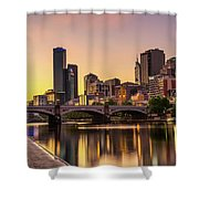 Sunset Over Skyscrapers Of Melbourne Downtown And Princes Bridge Shower Curtain