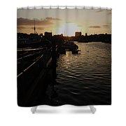 Sunset Over Sutton Harbour Plymouth Shower Curtain