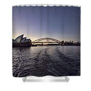 Sunset Over Sydney Harbor Bridge And Sydney Opera House Shower Curtain