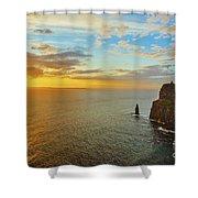 sunset over the Aran Islands Shower Curtain