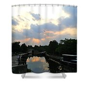 Sunset Over The Canal At Ladbroke Grove. Shower Curtain
