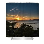Sunset Over The Columbia River Shower Curtain