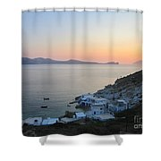 Sunset Over The Fishing Cove Of Klima On The Cycladic Island Of Milos Shower Curtain