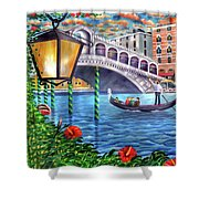 Sunset Over The Grand Canal - Venice Shower Curtain
