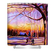 Sunset Over The Hockey Game Shower Curtain