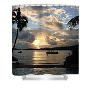 Sunset Over The Inifinity Pool At Frenchman's Cove In St. Thomas Shower Curtain