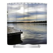 Sunset Over The Lake. Shower Curtain