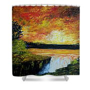 Sunset Over The Lake Shower Curtain