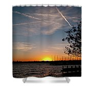Sunset Over The Marina Shower Curtain