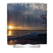 Sunset Over The Mississippi In Wisconsin Shower Curtain