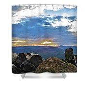 Sunset Over The Mountain Range Shower Curtain
