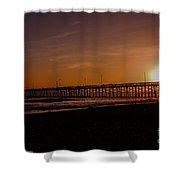 Sunset Over The Newport Beach Pier Shower Curtain
