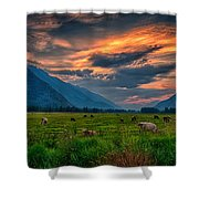 Sunset Over The Pasture Shower Curtain