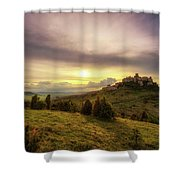 Sunset Over The Ruins Of Spis Castle In Slovakia Shower Curtain