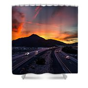 Sunset Over The Soda Mountains Shower Curtain