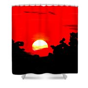Sunset Over The Trees Shower Curtain