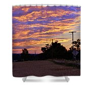Sunset Over The Wheat Fields Shower Curtain