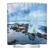 Sunset Over Thor's Well Shower Curtain