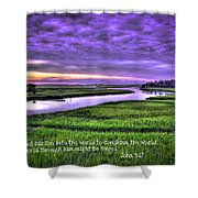 Sunset Over Turners Creek John 3 17 Shower Curtain