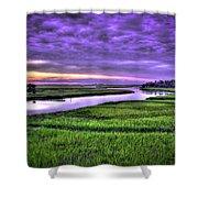 Sunset Over Turners Creek Savannah Tybee Island Ga Shower Curtain