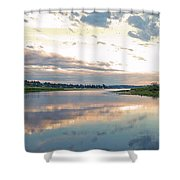 Sunset Over Union Bay Tall Panorama Shower Curtain