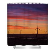 Sunset Over Windmills Field Shower Curtain
