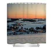 Sunset Over Winter Landscape Shower Curtain