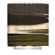 Sunset Over Yellowstone River In Yellowstone National Park Shower Curtain
