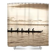 Sunset Paddlers - Sepia Shower Curtain