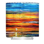 Sunset - Palette Knife Oil Painting On Canvas By Leonid Afremov Shower Curtain