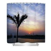 Sunset - Palm Tree Shower Curtain