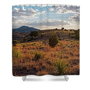 Sunset Panorama Of Blue Mountain At Davis Mountains State Park - Indian Lodge Trail Fort Davis Texas Shower Curtain