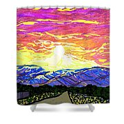 Sunset Pearblossom Highway Shower Curtain