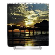 Sunset Pier Reflection Shower Curtain