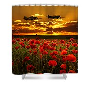 Sunset Poppies Fighter Command Shower Curtain