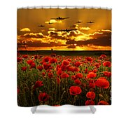 Sunset Poppies The Bbmf Shower Curtain