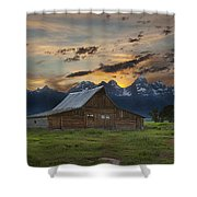 Moulton Barn Sunset Grand Teton National Park Shower Curtain