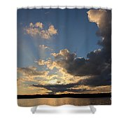 Sunset Rays On The Shore Shower Curtain