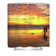 Sunset Ocean Runners Shower Curtain