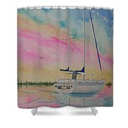 Sunset Sail 3 Shower Curtain