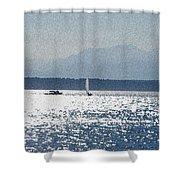 Sunset Sailboats  Shower Curtain