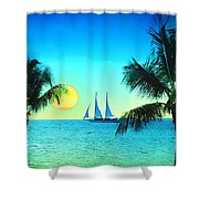 Sunset Sailor Shower Curtain by Bill Cannon
